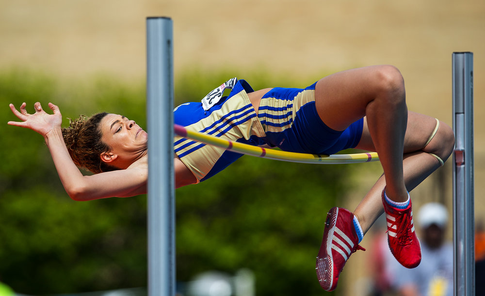 Bloom Township's Jelena Rowe sets a state record high jump mark of 6.0 feet during the Girls Track and Field State Final Meet at O'Brien Field in Charleston, Ill., Saturday, May 20, 2017.  [Ted Schurter/The State Journal-Register]