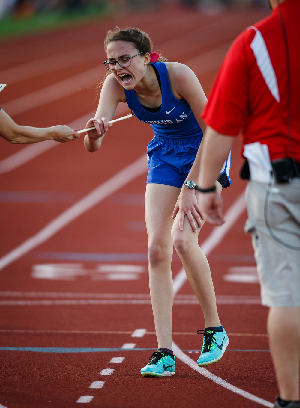 Lutheran's Bernadette Tournoux screams out after winning the Girls 1600m Run with a time of 5:42.19 during the Capital Area Classic at Glenwood High School, Monday, May 15, 2017, in Chatham, Ill. [Justin L. Fowler/The State Journal-Register]