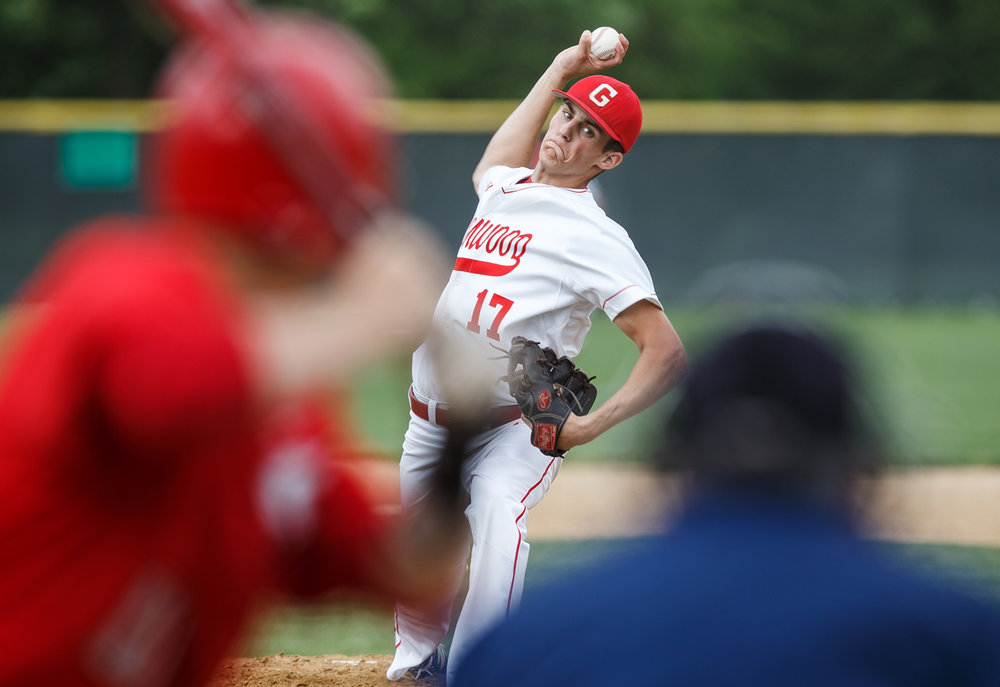 Glenwood's Jacob Maton (17) loads up a pitch for delivery against Springfield in the third inning at Chatham Community Park, Wednesday, May 17, 2017, in Chatham, Ill. [Justin L. Fowler/The State Journal-Register]