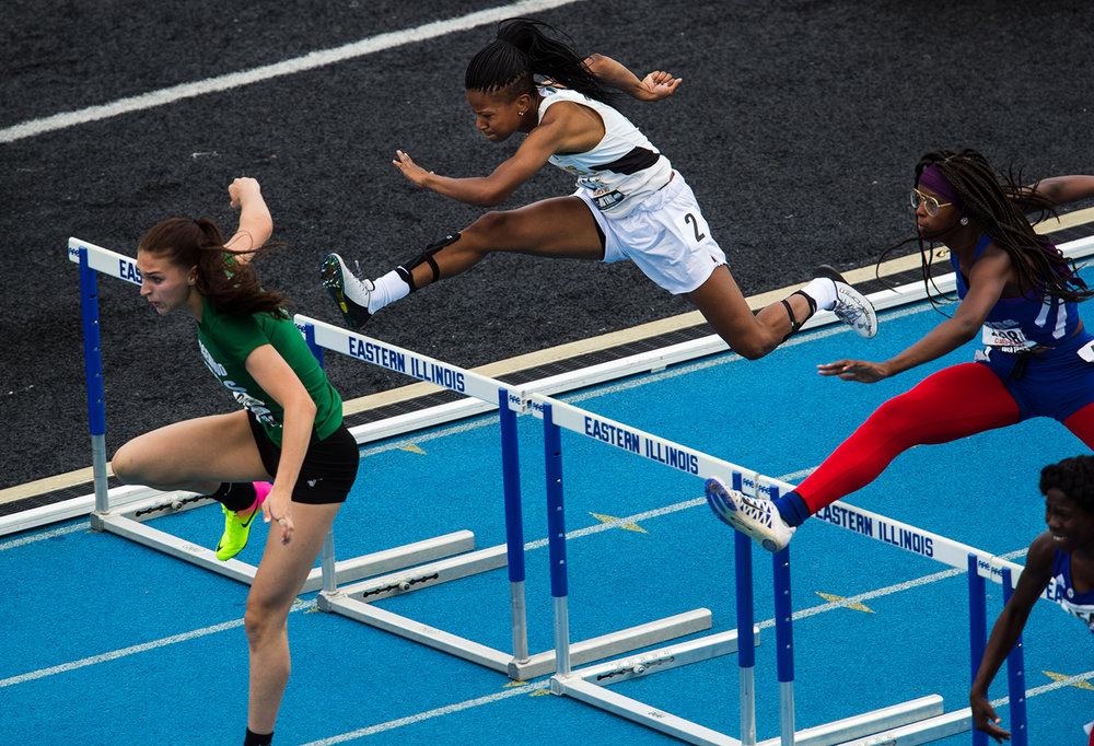 Southeast's Dontavia Howard competes in the Class 2A 100 Meter High Hurdles during the Girls Track and Field State Final Meet at O'Brien Field in Charleston, Ill., Saturday, May 20, 2017.  [Ted Schurter/The State Journal-Register]