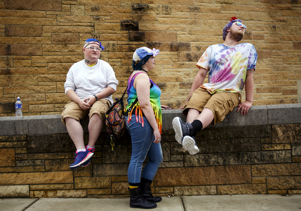 Breanna Fromm, left, Kaysi Vice and Austyn Stiner attended Springfield PrideFest Saturday, May 20, 2017.  [Rich Saal/The State Journal-Register]