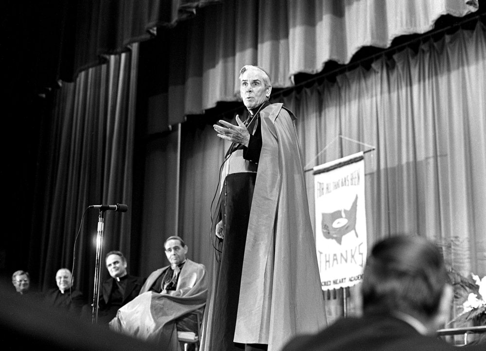 Bishop Fulton J. Sheen at State Armory, May 16, 1976. File/The State Journal-Register