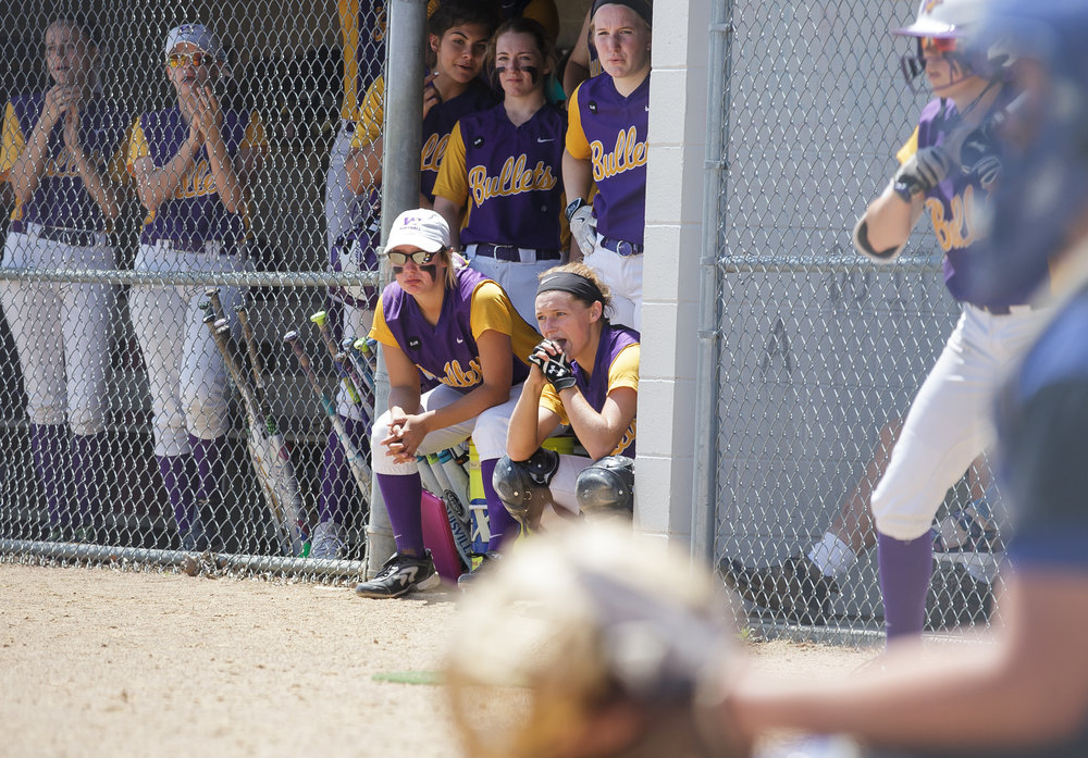 The Williamsville dugout watches with two out in the seventh inning down 4-3 to Tri-City during the Class 2A Williamsville Sectional Championship game at Jane Grebner Field, Saturday, May 27, 2017, in Williamsville, Ill. [Justin L. Fowler/The State Journal-Register]