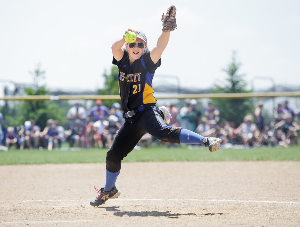 Tri-City's Payton Sturdy (21) delivers a pitch against Williamsville in the seventh inning during the Class 2A Williamsville Sectional Championship game at Jane Grebner Field, Saturday, May 27, 2017, in Williamsville, Ill. [Justin L. Fowler/The State Journal-Register]