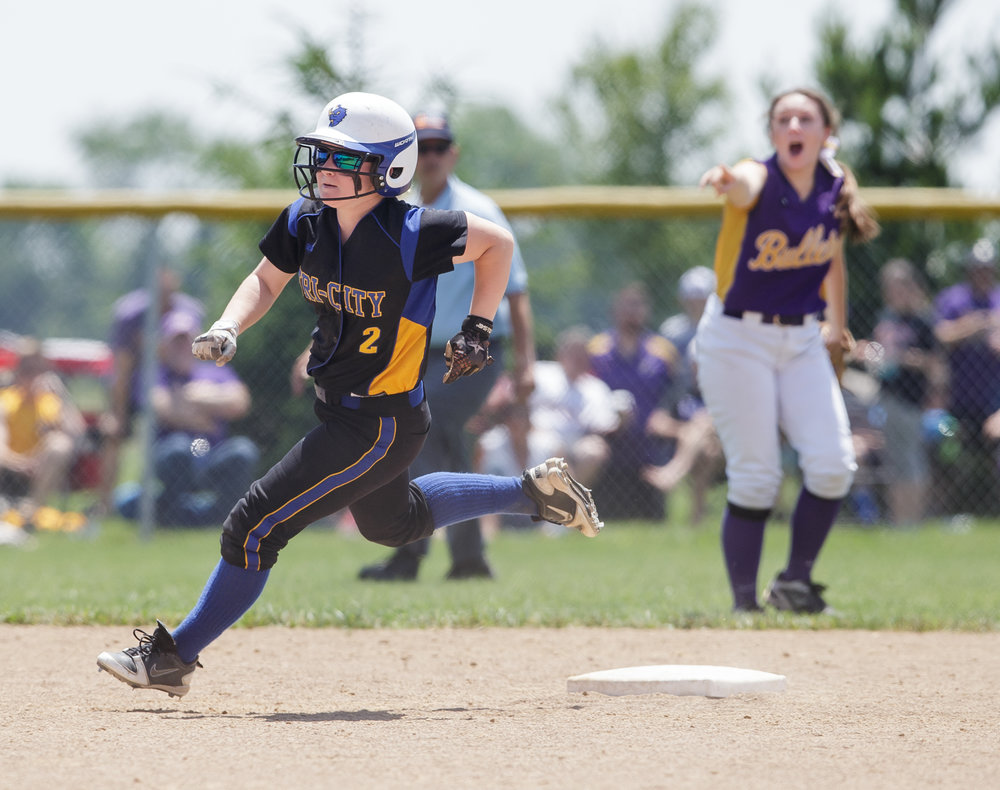 Tri-City's Ashlyn Morlock (2) rounds second on an RBI triple that gave the Tornadoes the 4-3 lead against Williamsville in the sixth inning during the Class 2A Williamsville Sectional Championship game at Jane Grebner Field, Saturday, May 27, 2017, in Williamsville, Ill. [Justin L. Fowler/The State Journal-Register]