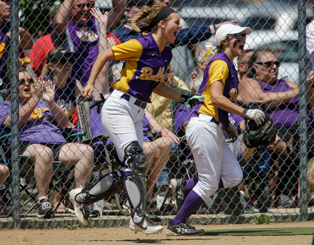 Williamsville's Skylar Dees (9) reacts after Williamsville's Danielle Dennis (19) hits a two-run home run against Tri-City in the fifth inning during the Class 2A Williamsville Sectional Championship game at Jane Grebner Field, Saturday, May 27, 2017, in Williamsville, Ill. [Justin L. Fowler/The State Journal-Register]