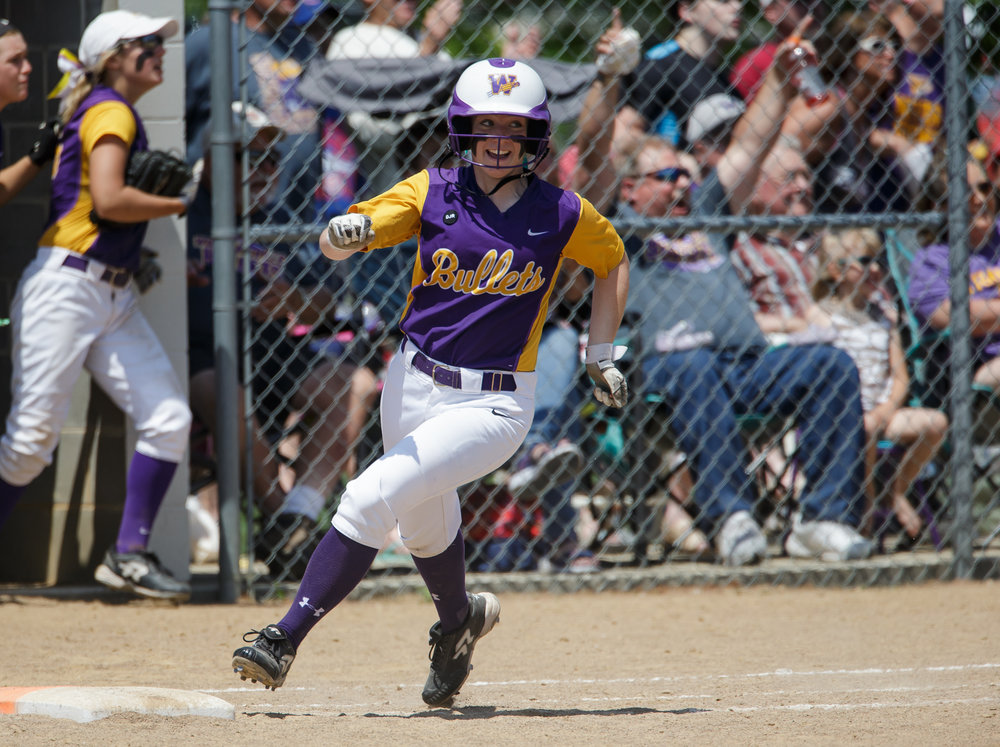 Williamsville's Danielle Dennis (19) rounds first after a two-run home run against Tri-City in the fifth inning during the Class 2A Williamsville Sectional Championship game at Jane Grebner Field, Saturday, May 27, 2017, in Williamsville, Ill. [Justin L. Fowler/The State Journal-Register]