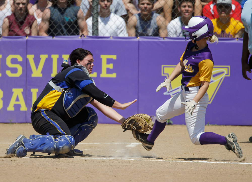 Tri-City's Katie Jarrett (5) tags out Williamsville's Kalli Sharp (4) at home plate to end the third inning during the Class 2A Williamsville Sectional Championship game at Jane Grebner Field, Saturday, May 27, 2017, in Williamsville, Ill. [Justin L. Fowler/The State Journal-Register]