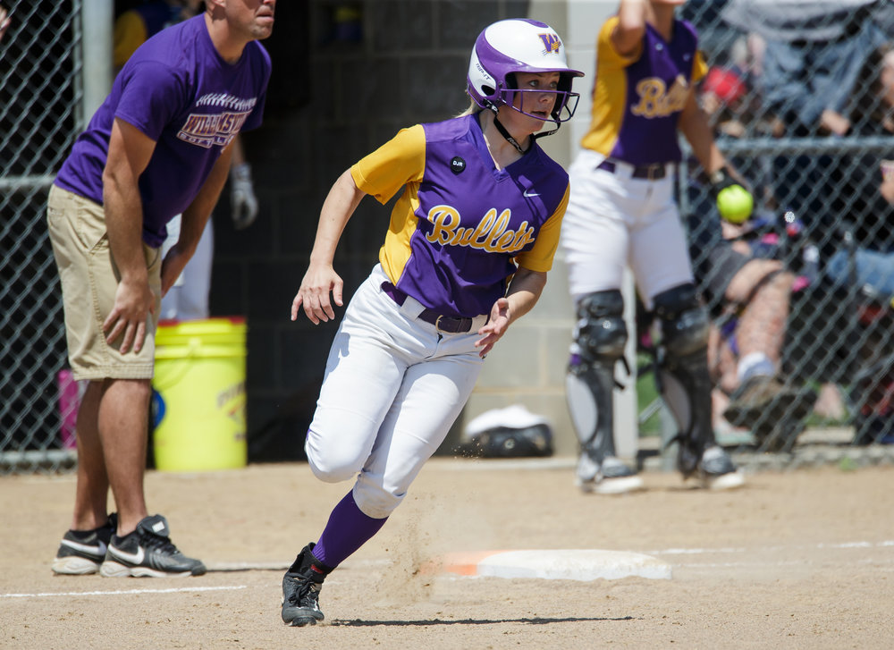 Williamsville's Molly Walter (10) rounds first on her way to a double in the third inning during the Class 2A Williamsville Sectional Championship game at Jane Grebner Field, Saturday, May 27, 2017, in Williamsville, Ill. [Justin L. Fowler/The State Journal-Register]