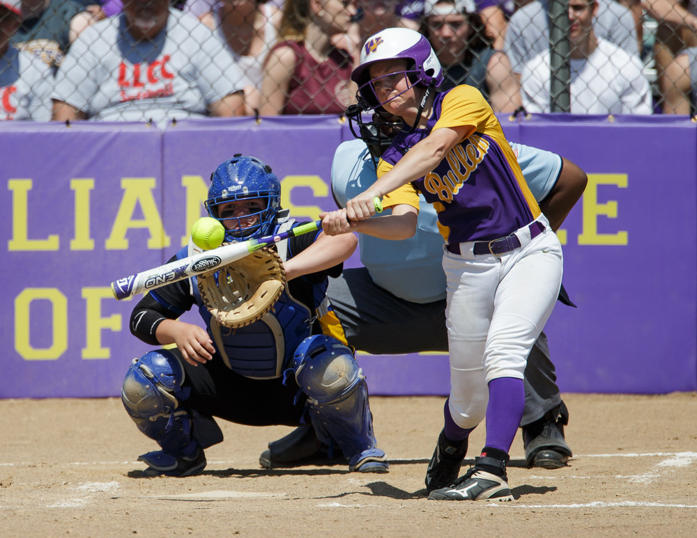 Williamsville's Molly Walter (10) hits a double against Tri-City's Payton Sturdy (21) in the third inning during the Class 2A Williamsville Sectional Championship game at Jane Grebner Field, Saturday, May 27, 2017, in Williamsville, Ill. [Justin L. Fowler/The State Journal-Register]