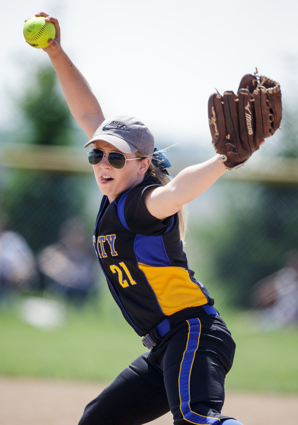 Tri-City's Payton Sturdy (21) delivers a pitch against Williamsville in the first inning during the Class 2A Williamsville Sectional Championship game at Jane Grebner Field, Saturday, May 27, 2017, in Williamsville, Ill. [Justin L. Fowler/The State Journal-Register]