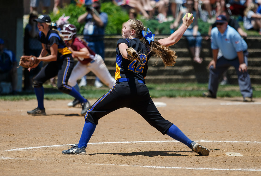 Tri-City's Kaitlynn Spain (22) delivers a pitch against St. Joseph Ogden in the seventh inning during the Class 2A Athens Supersectional at Athens High School, Monday, May 29, 2017, in Athens, Ill. [Justin L. Fowler/The State Journal-Register]