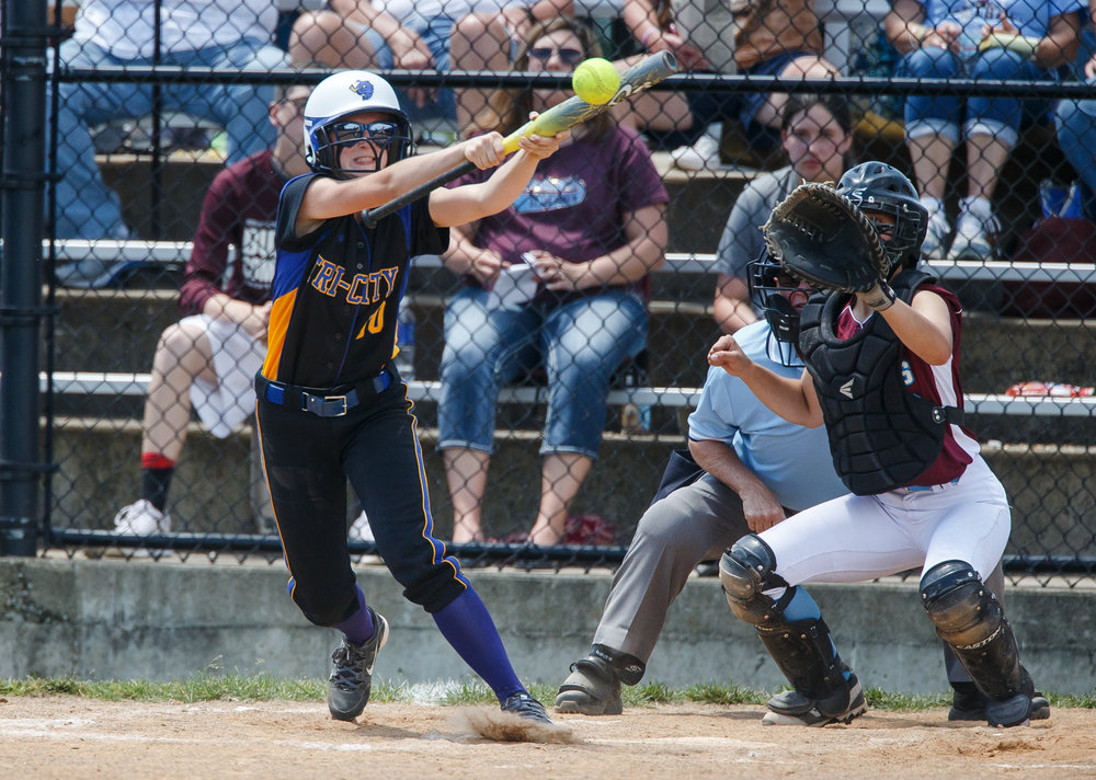 Tri-City's Anna Sagle (10) lays down a bunt against St. Joseph Ogden to advance the runners in the fourth inning during the Class 2A Athens Supersectional at Athens High School, Monday, May 29, 2017, in Athens, Ill. [Justin L. Fowler/The State Journal-Register]