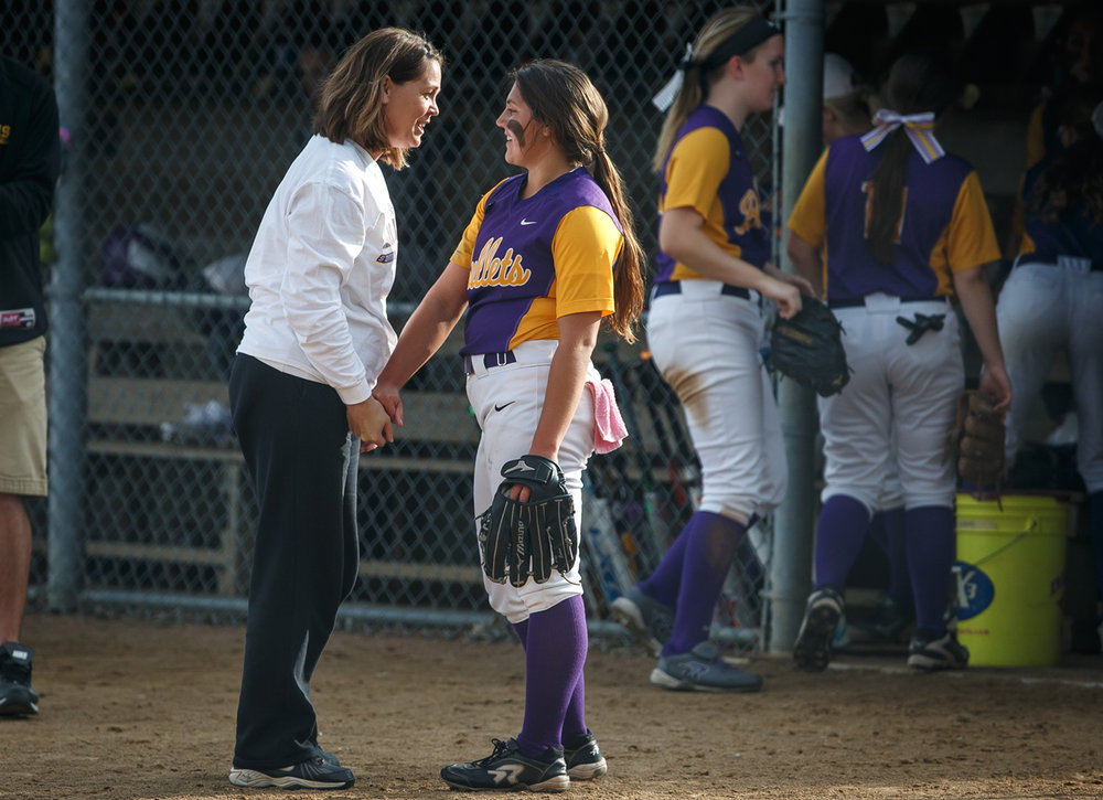 Williamsville coach Mindy Ashbaugh talks with pitcher Payton Long (21) after getting out of the sixth inning against Dupo during the Class 2A Williamsville Sectional at Jane Grebner Field, Wednesday, May 24, 2017, in Williamsville, Ill. [Justin L. Fowler/The State Journal-Register]