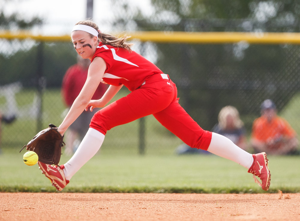 Glenwood's Sarah Bingenheimer (1) stretches out to field a ground ball for the first out of a double play against Mt. Zion in the first inning during the Class 3A Glenwood Sectional semifinals at Glenwood High School, Tuesday, May 30, 2017, in Chatham, Ill. [Justin L. Fowler/The State Journal-Register]