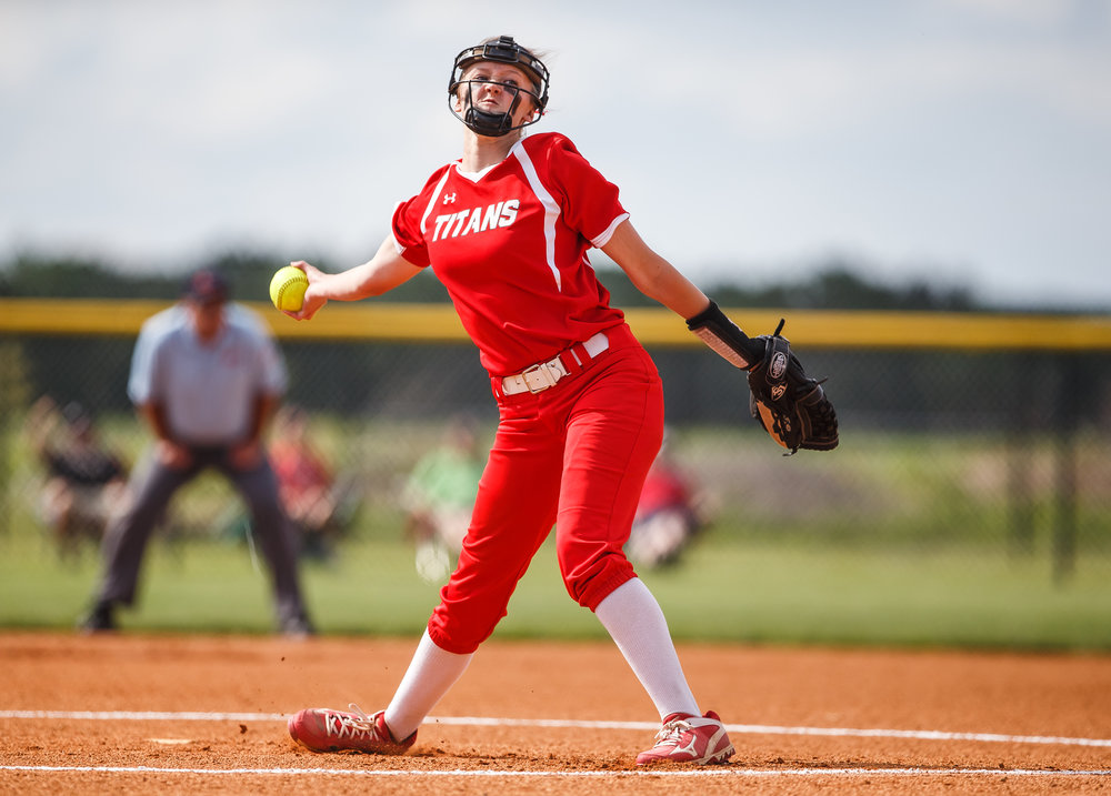 Glenwood's Sydney Paulauskis-Lauher (13) delivers a pitch against Mt. Zion in the first inning during the Class 3A Glenwood Sectional semifinals at Glenwood High School, Tuesday, May 30, 2017, in Chatham, Ill. [Justin L. Fowler/The State Journal-Register]