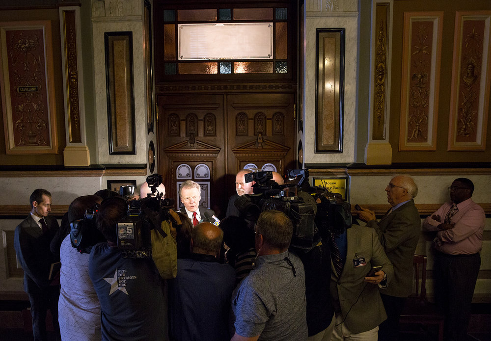 Following a House Democratic caucus meeting, House Speaker Michael Madigan, D-Chicago, says there won't be  a vote on the budget before the end of the last session day at the Capitol in Springfield, Ill., Wednesday, May 31, 2017. [Rich Saal/The State Journal-Register]