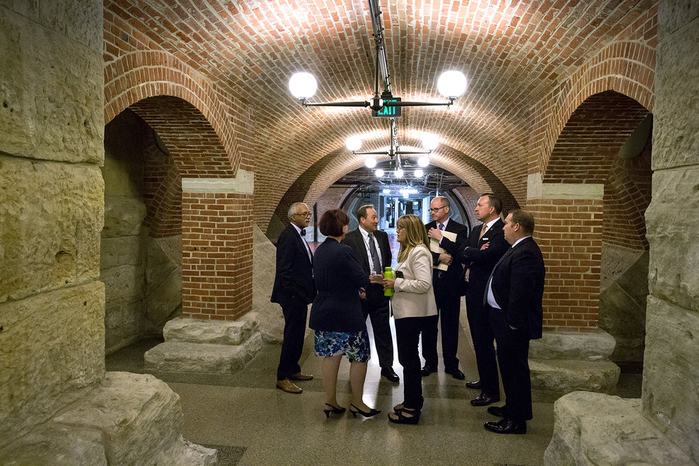 Illinois Senate Democrats wait outside the press briefing room in the basement of the Capitol before speaking with reporters about their balanced budget package Wednesday, May 31, 2017. [Rich Saal/The State Journal-Register]