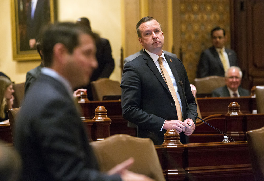 Sen. Andy Manar, D-Bunker Hill, listens to Sen. Jason Barickman, R-Bloomington, comment on Manar's school funding overhaul bill while the senate voted on changes to the bill made earlier by the House late Wednesday, May 31, 2017 at the Capitol. [Rich Saal/The State Journal-Register]