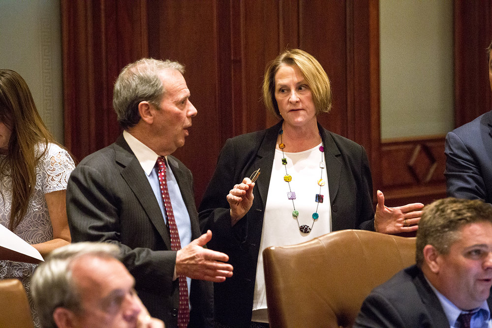 Senate President John Cullerton, D-Chicago, speaks with Senate Minority Leader Christine Radogno, R-Lemont , during debate late Wednesday, May 31, 2017 on a school funding overhaul bill at the Capitol. [Rich Saal/The State Journal-Register]