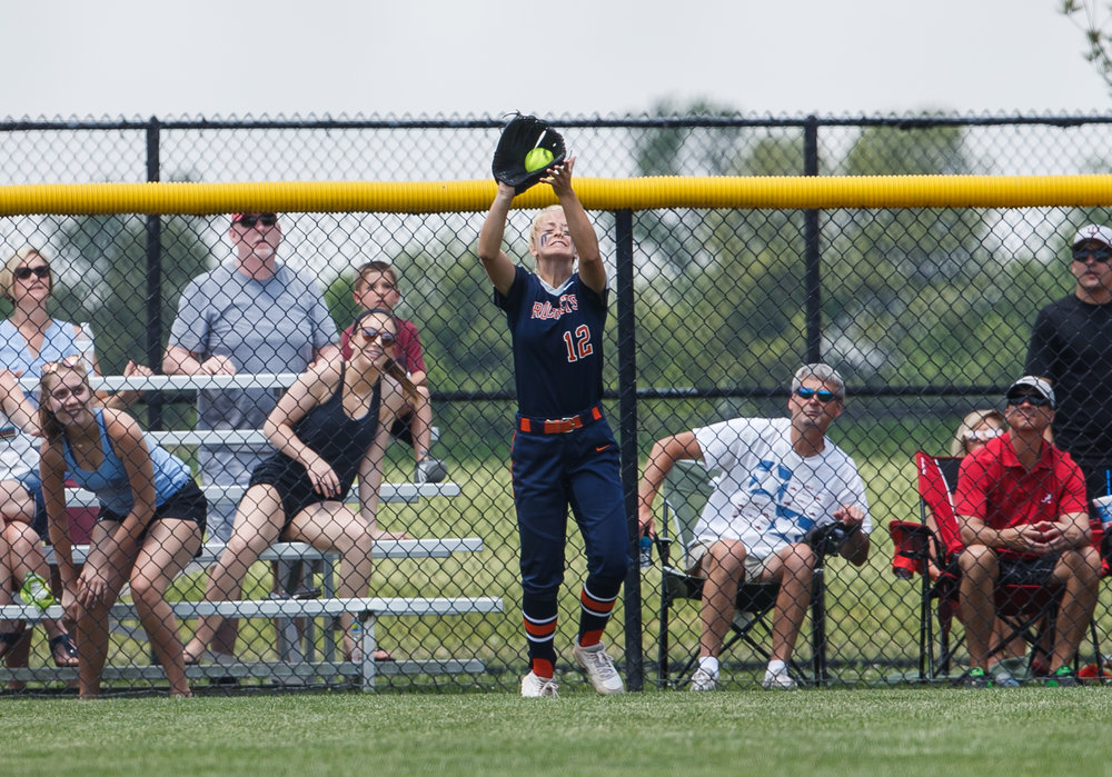 Rochester's Jillian Anderson (12) catches a deep ball at the fence from Glenwood in the fourth inning during the Class 3A Glenwood Sectional championship at Glenwood High School, Saturday, June 3, 2017, in Chatham, Ill. [Justin L. Fowler/The State Journal-Register]