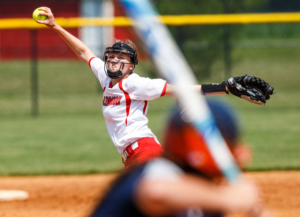 Glenwood's Sydney Paulauskis-Lauher (13) delivers a pitch against Rochester in the second inning during the Class 3A Glenwood Sectional championship at Glenwood High School, Saturday, June 3, 2017, in Chatham, Ill. [Justin L. Fowler/The State Journal-Register]