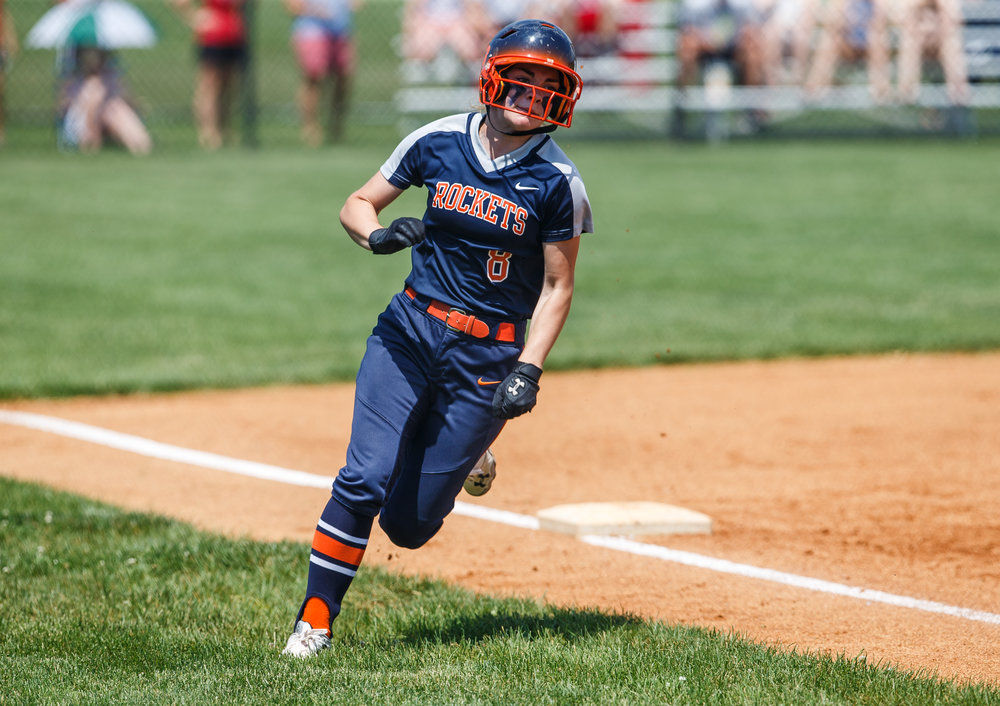 Rochester's Alanna Gillespie (8) heads for home to score a run to make it 1-0 Rochester in the second inning during the Class 3A Glenwood Sectional championship at Glenwood High School, Saturday, June 3, 2017, in Chatham, Ill. [Justin L. Fowler/The State Journal-Register]