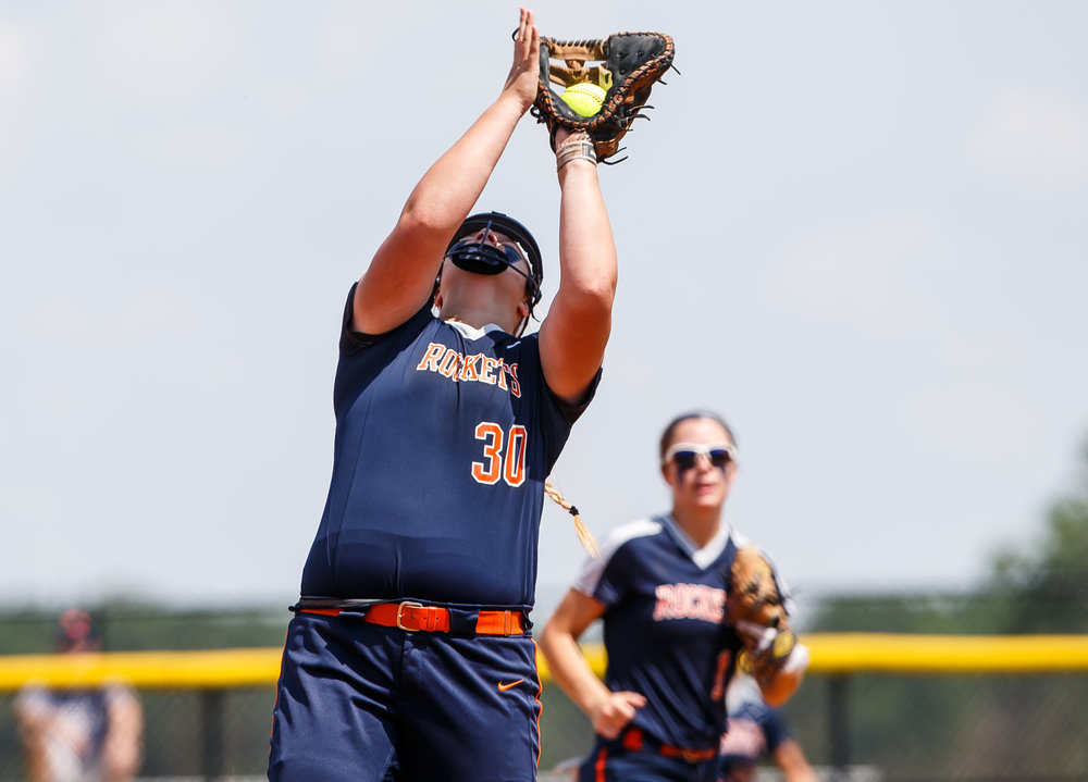 Rochester's Katie Nika (30) catches a pop-up for an out against Glenwood in the first inning during the Class 3A Glenwood Sectional championship at Glenwood High School, Saturday, June 3, 2017, in Chatham, Ill. [Justin L. Fowler/The State Journal-Register]