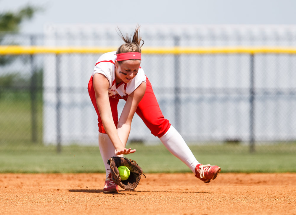 Glenwood's Sarah Bingenheimer (1) fields a ground ball for an out in the first inning during the Class 3A Glenwood Sectional championship at Glenwood High School, Saturday, June 3, 2017, in Chatham, Ill. [Justin L. Fowler/The State Journal-Register]