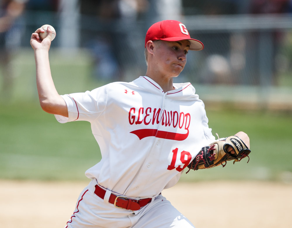 Glenwood's Gavin Wahlbrink (19) delivers a pitch against Champaign Central in the sixth inning during the Class 3A Glenwood Sectional championship at Chatham Community Park, Saturday, June 3, 2017, in Chatham, Ill. [Justin L. Fowler/The State Journal-Register]