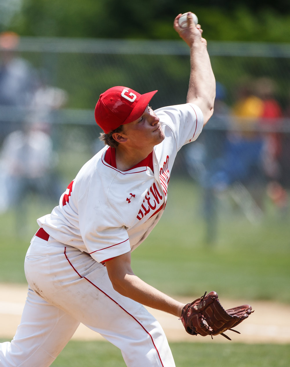 Glenwood's Reid Detmers (28) delivers a pitch against Champaign Central in the fifth inning during the Class 3A Glenwood Sectional championship at Chatham Community Park, Saturday, June 3, 2017, in Chatham, Ill. [Justin L. Fowler/The State Journal-Register]