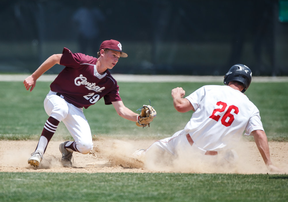 Glenwood's Cole Hembrough (26) steals second base as he beats the tag from Champaign Central's Jake Cochrane (29) in the fifth inning during the Class 3A Glenwood Sectional championship at Chatham Community Park, Saturday, June 3, 2017, in Chatham, Ill. [Justin L. Fowler/The State Journal-Register]