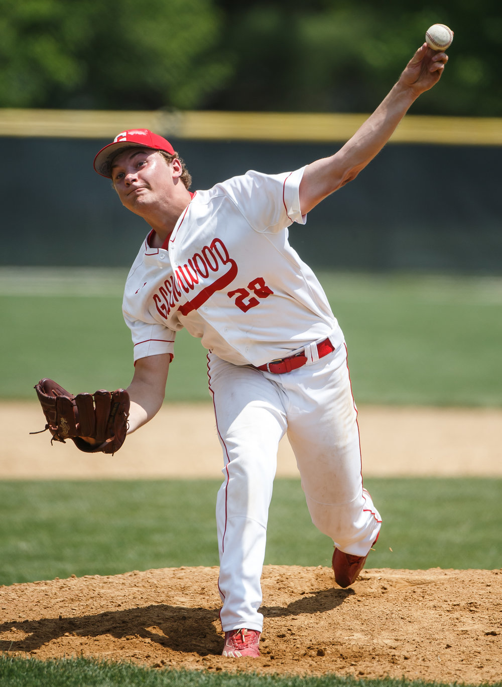 Glenwood's Reid Detmers (28) delivers a pitch against Champaign Central in the fourth inning during the Class 3A Glenwood Sectional championship at Chatham Community Park, Saturday, June 3, 2017, in Chatham, Ill. [Justin L. Fowler/The State Journal-Register]