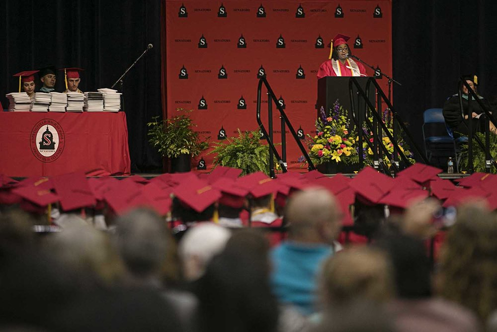 Class president A'Maginese O'Neal delivers her opening remarks during the Springfield High School graduation at the Bank of Springfield Center Saturday June 3, 2017 [Photo by Jason Johnson]