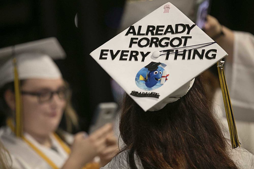 Sydney Justus's Dory themed mortarboard during the Springfield Southeast High School graduation at the Bank of Springfield Center Saturday June 3, 2017 [Photo by Jason Johnson]