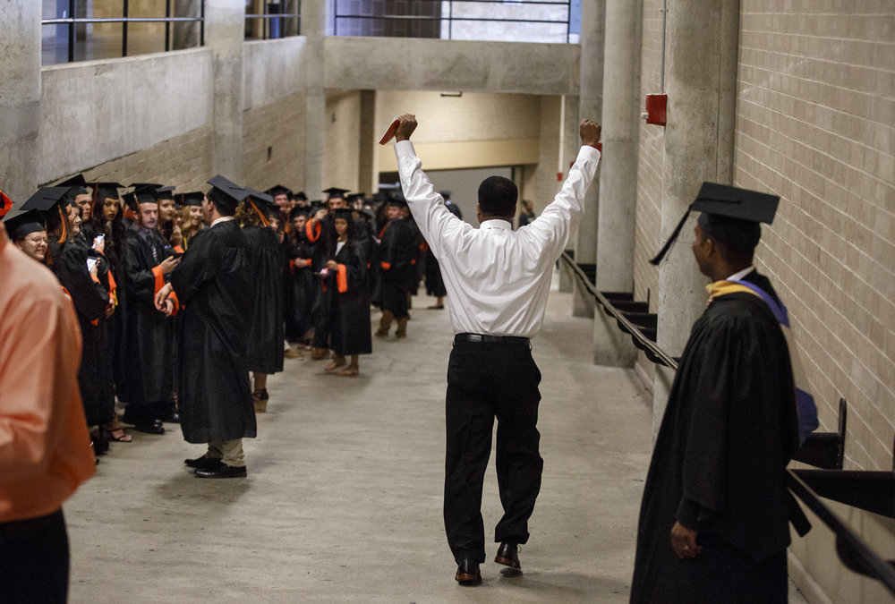 Lanphier High School principal Artie Doss is excited for the Class of 2017's   graduation at the Bank of Springfield Center Saturday, June 3, 2017. [Rich Saal/The State Journal-Register]