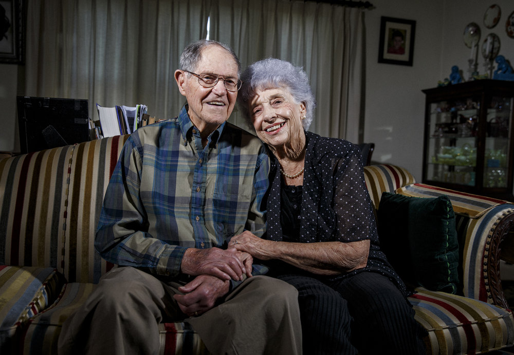 """Arlyn and Maureen Lober photographed in their home, Friday, May 26, 2017, in Springfield, Ill. Arlyn Lober arrived in France in 1944 as a tank crewman in the 11th Armored Division fought in the Battle of the Bulge. Lober served with the 42nd Tank Battalion, part of Patton's 3rd Army and turned 21 on Victory in Europe Day, May 8, 1945. Serving during World War II Òwas just something everybody did,""""Lober said. """"I graduated from high school, I went into the Army, I knew I was going, all of my friends and classmates were going into the service.""""[Justin L. Fowler/The State Journal-Register]"""