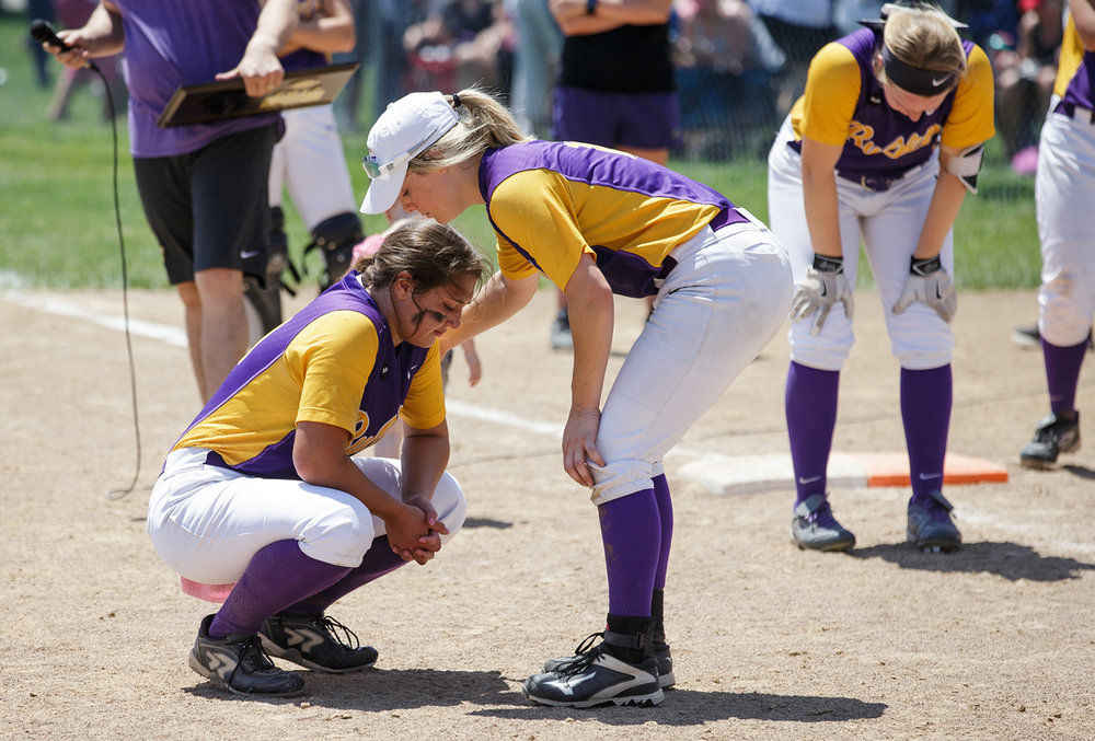 Williamsville's Molly Walter (10) comes over to hug Williamsville's Payton Long (21) after the Bullets were defeated 4-3 by Tri-City during the Class 2A Williamsville Sectional Championship game at Jane Grebner Field, Saturday, May 27, 2017, in Williamsville, Ill. [Justin L. Fowler/The State Journal-Register]
