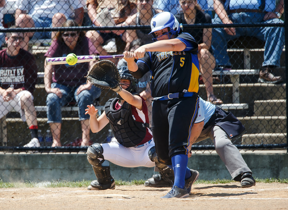 Tri-City's Katie Jarrett (5) hits a two-run single in the third inning against St. Joseph Ogden during the Class 2A Athens Supersectional at Athens High School, Monday, May 29, 2017, in Athens, Ill. [Justin L. Fowler/The State Journal-Register]