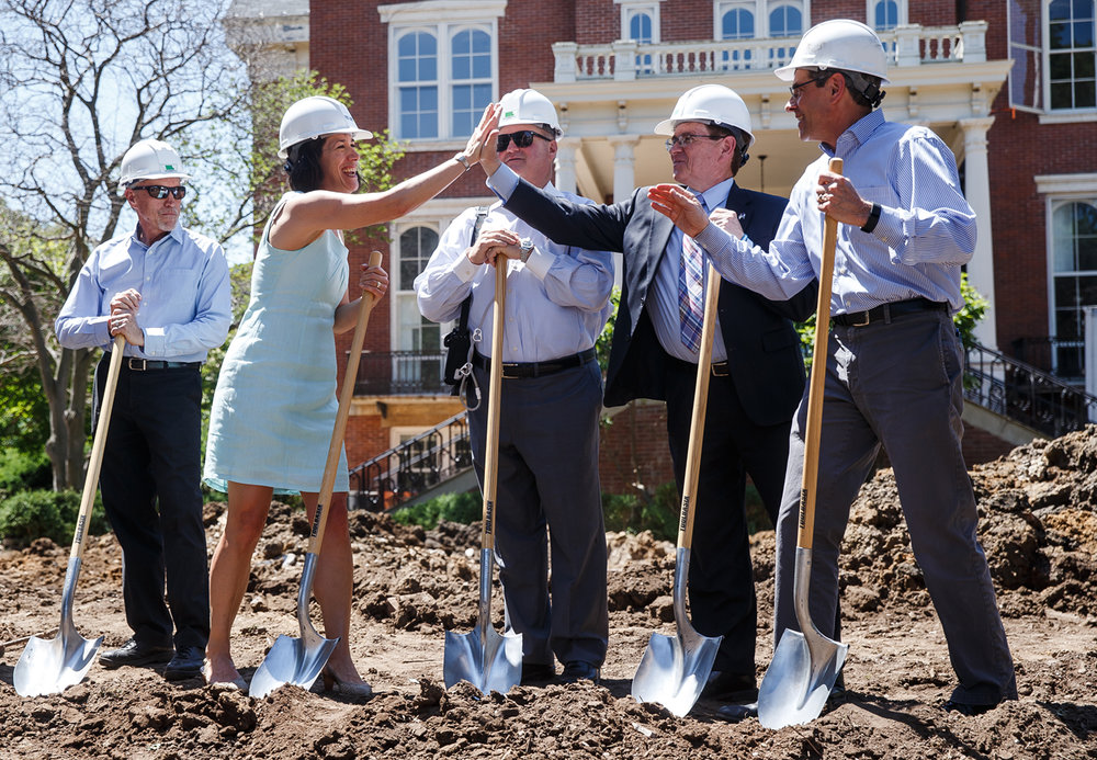 Illinois First Lady Diana Rauner gives a high five to Springfield Mayor Jim Langfelder after a ceremonial ground breaking for the $15 million dollar restoration of the Illinois Executive Mansion, Friday, June 2, 2017, in Springfield, Ill. The first extensive repairs to the Illinois Executive Mansion in decades should be completed in time for the 200th anniversary of Illinois statehood in 2018. [Justin L. Fowler/The State Journal-Register]