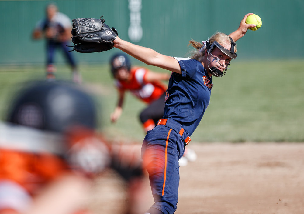 Rochester's Jillian Anderson (12) winds up a pitch against Herrin in the first inning during the Class 3A Mattoon Supersectional at the Roundhouse Sports Complex, Monday, June 5, 2017, in Mattoon, Ill. [Justin L. Fowler/The State Journal-Register]