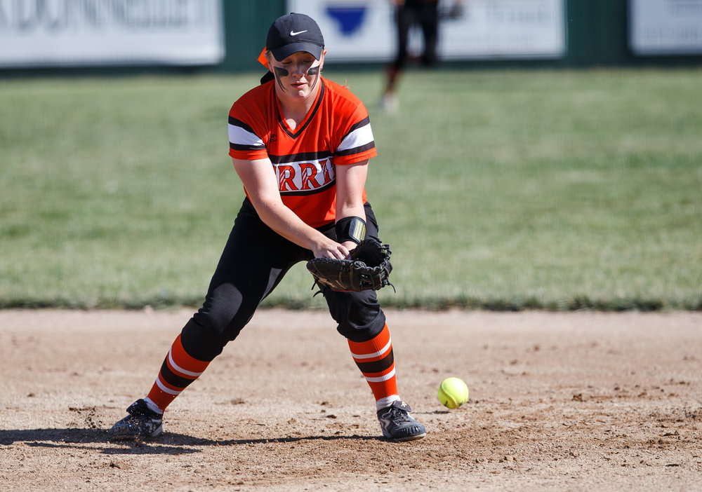 Herrin's Makayla Smothers (15) misses a ground ball from Rochester in the first inning during the Class 3A Mattoon Supersectional at the Roundhouse Sports Complex, Monday, June 5, 2017, in Mattoon, Ill. [Justin L. Fowler/The State Journal-Register]