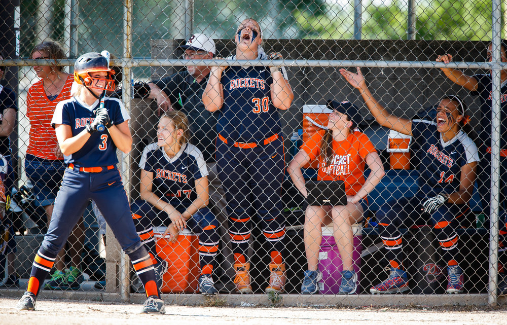 Rochester's Katie Nika (30) screams out encouragement for her teammates as they bat against Herrin in the third inning during the Class 3A Mattoon Supersectional at the Roundhouse Sports Complex, Monday, June 5, 2017, in Mattoon, Ill. [Justin L. Fowler/The State Journal-Register]