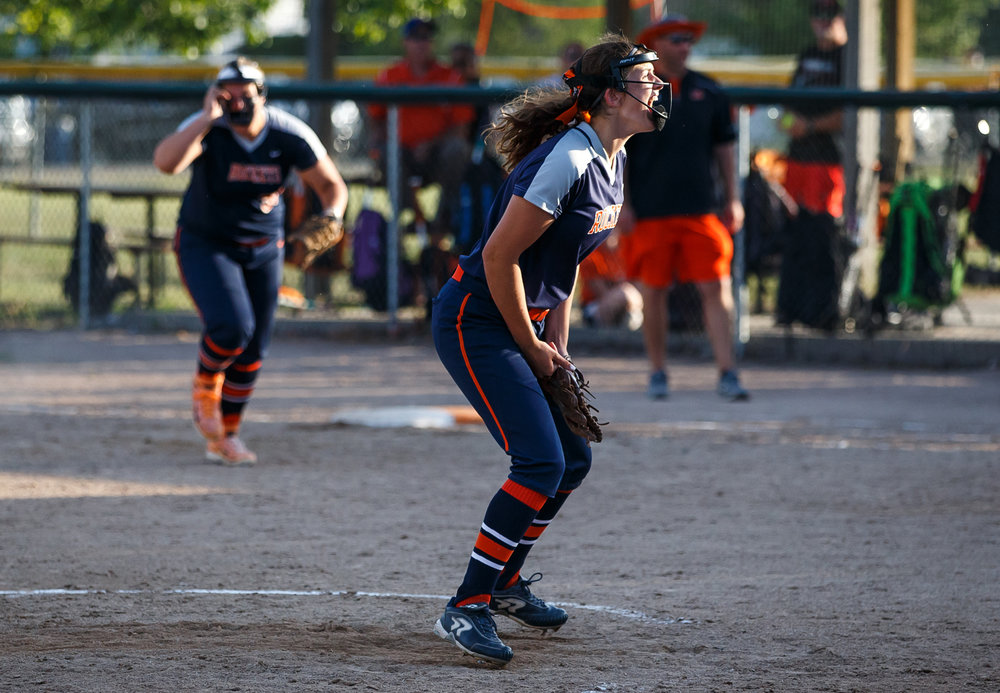 Rochester pitcher Reagan Miles (9) screams out after getting the last out to defeat Herrin 10-4 in the eighth inning in the Class 3A Mattoon Supersectional at Roundhouse Sports Complex, Monday, June 5, 2017, in Mattoon, Ill. [Justin L. Fowler/The State Journal-Register]