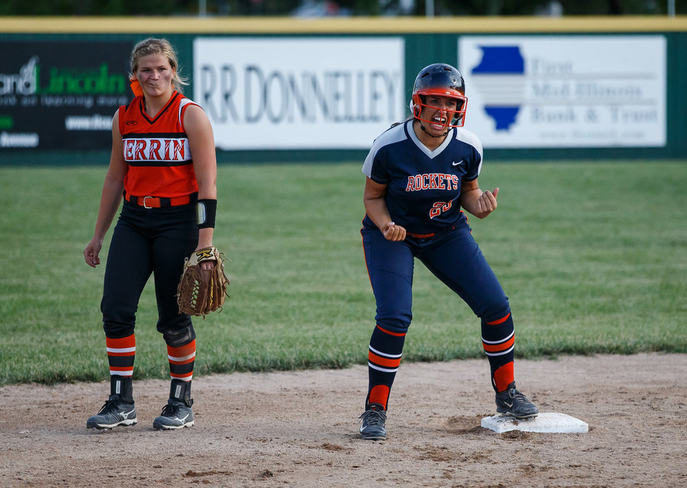 Rochester's Abby Blatz (25) screams out reaching second after an RBI single against Herrin in the eighth inning during the Class 3A Mattoon Supersectional at the Roundhouse Sports Complex, Monday, June 5, 2017, in Mattoon, Ill. [Justin L. Fowler/The State Journal-Register]