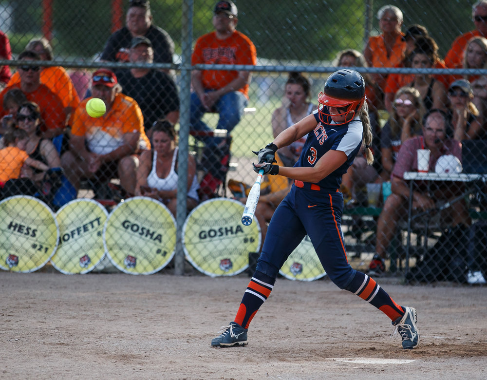 Rochester's Ali Bortmess (3) hits a solo home run to put the Rockets up 5-4 in the eighth inning against Herrin during the Class 3A Mattoon Supersectional at the Roundhouse Sports Complex, Monday, June 5, 2017, in Mattoon, Ill. [Justin L. Fowler/The State Journal-Register]