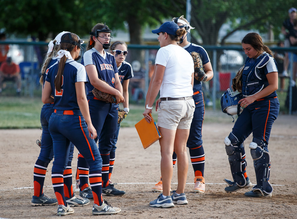 Rochester softball head coach Lindsay Howard comes out to talk with her team after Herrin tied the game 4-4 in the seventh inning during the Class 3A Mattoon Supersectional at the Roundhouse Sports Complex, Monday, June 5, 2017, in Mattoon, Ill. [Justin L. Fowler/The State Journal-Register]
