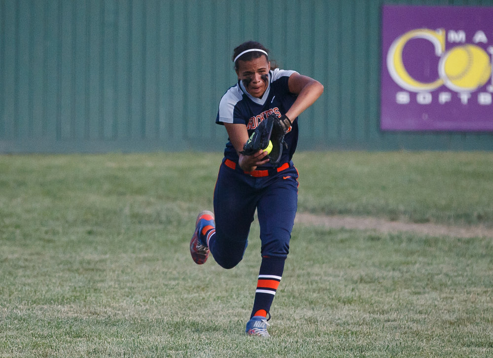 Rochester's Lyric Boone (14) records an out of the seventh inning as the Rockets lead Herrin 10-4 during the Class 3A Mattoon Supersectional at the Roundhouse Sports Complex, Monday, June 5, 2017, in Mattoon, Ill. [Justin L. Fowler/The State Journal-Register]