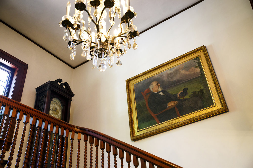John Dean Gillett, whose oil portrait hangs over the staircase in the main house, built his homestead atop Elkhart Hill in 1868. Eight generations later his descendents are selling the home and 785 surrounding acres at auction.[Rich Saal/The State Journal-Register]