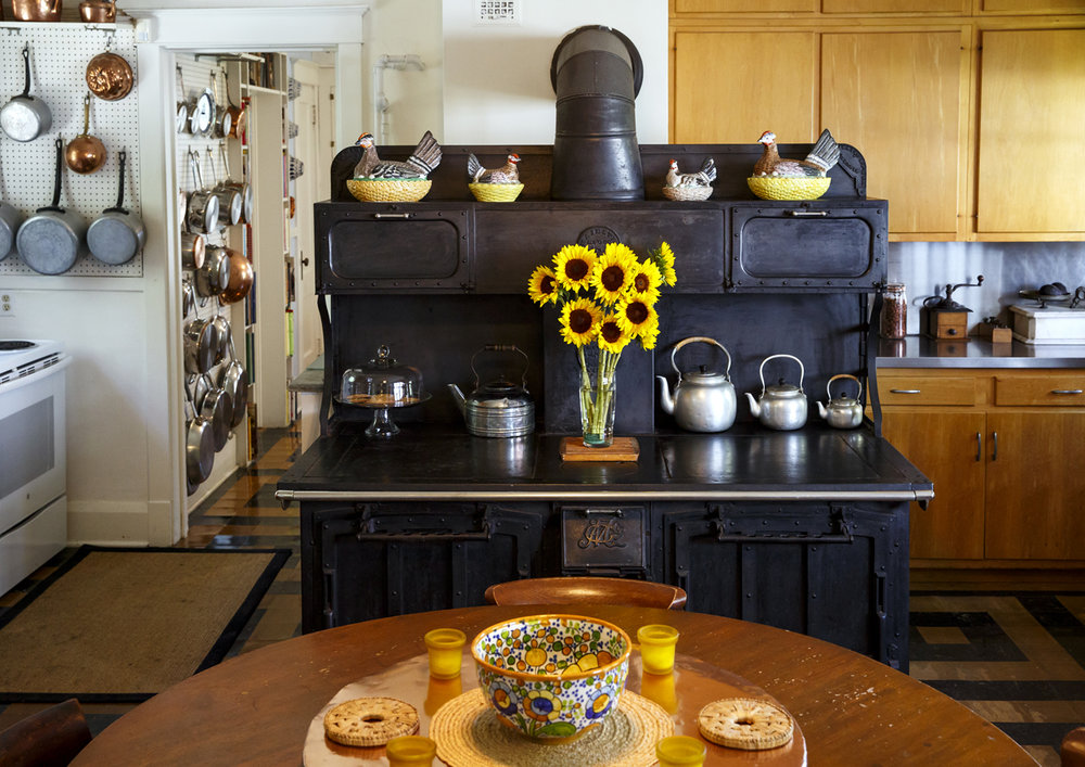 The centerpiece of the Gillett home kitchen is a cast iron wood-burning stove and heating source manufactured around 1906 by the Majestic Manufacturing Company in St. Louis. [Rich Saal/The State Journal-Register]